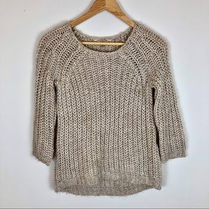 Anthropologie Knitted & Knotted Tan Gold Sweater